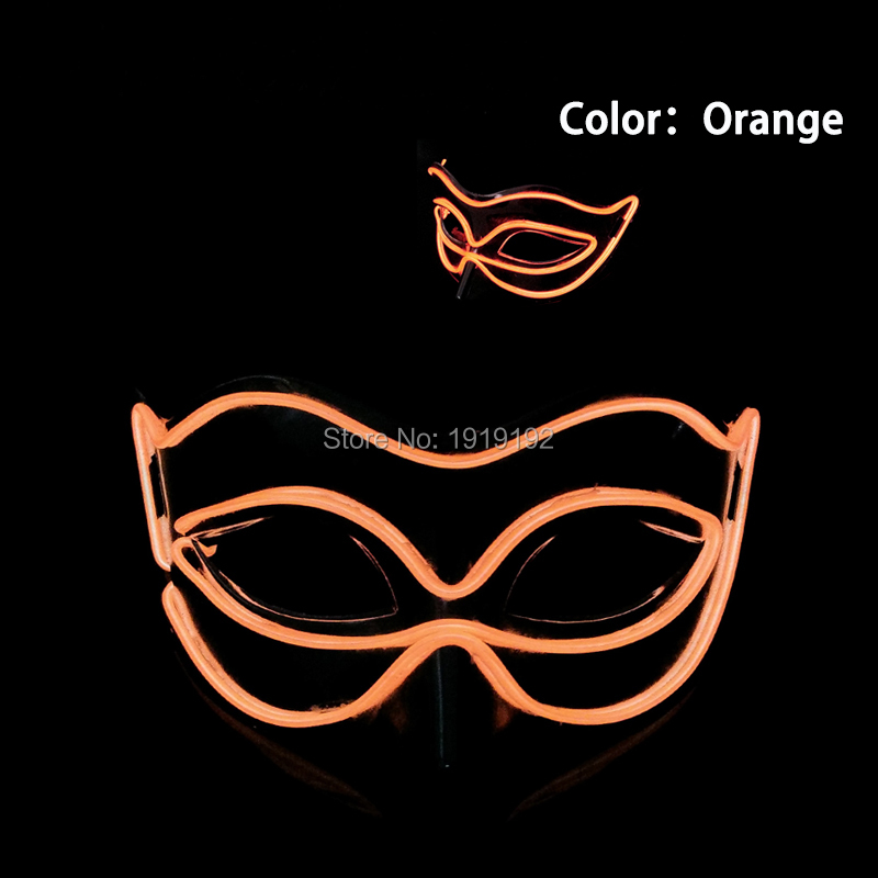 EL wire Masks Halloween Fox Mask luminous helmet Fire Festival LED Glowing Party DJ dance Carnival Masks by DC-3V Driver