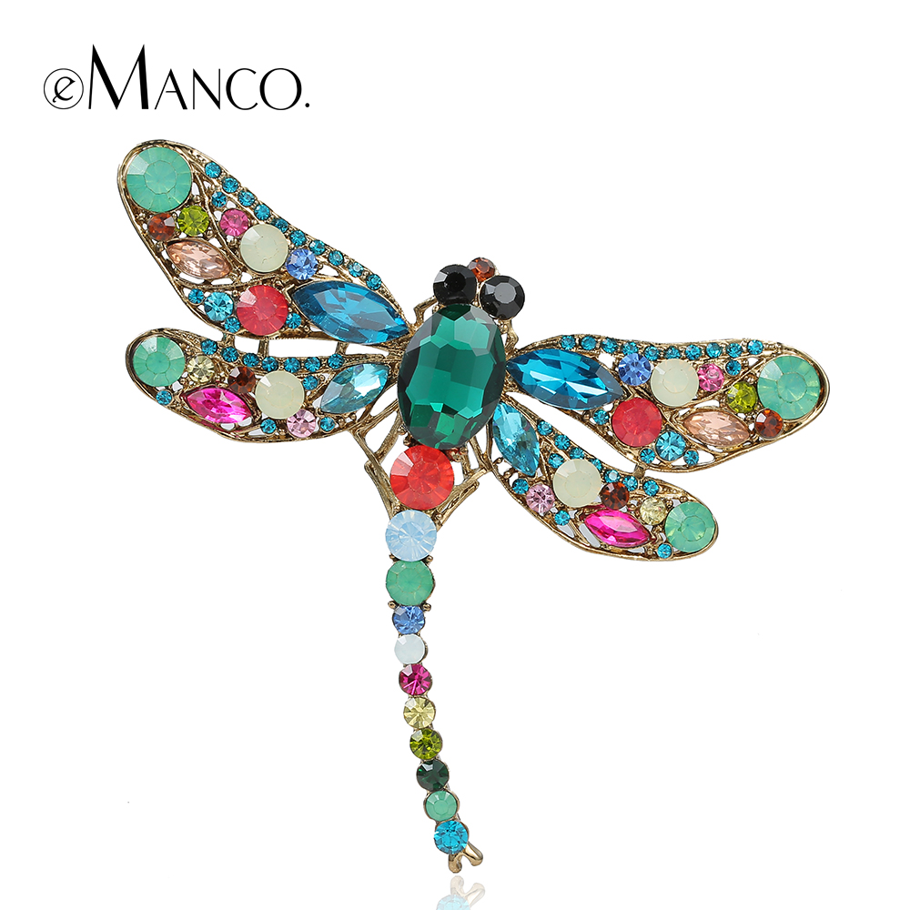 //Colorful dragonfly brooch crystal animal jewelry// rhinestone brooch pins summer jewelry 2015 alloy brooches for women eManco
