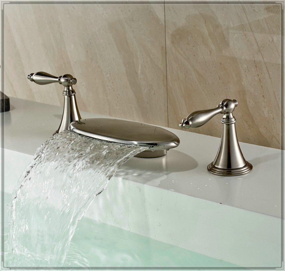 Luxury brushed nickel bathtub filler faucet waterfall for Expensive faucets