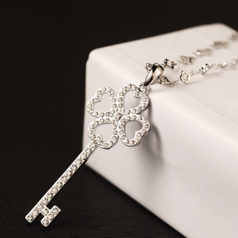 High Quality Famous Brand Design Fashion White Gold Crystal Key Necklaces Pendant Women Long Chain Statement Necklace Jewelry(China (Mainland))