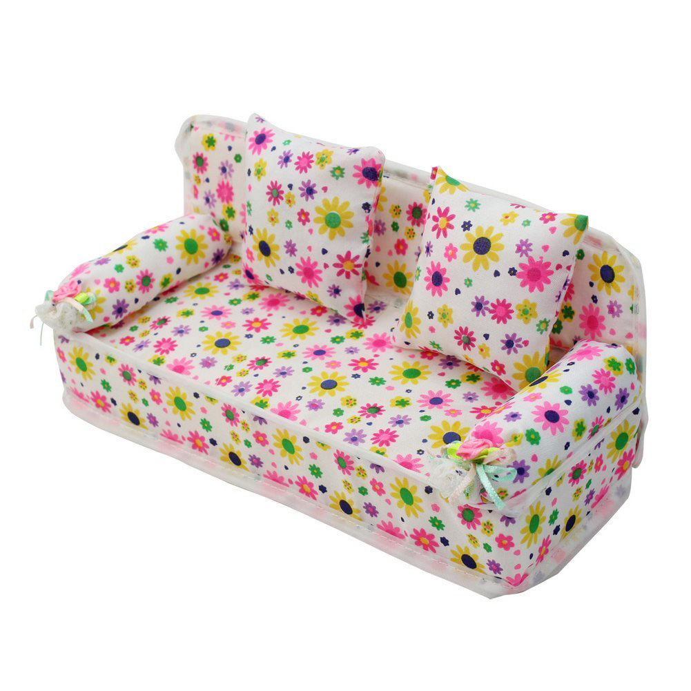 Sweet Lovely Home Floral Flower Miniature Furniture Pink Print Sofa Couch House Decoration with 2 Cushions for Barbie Dolls(China (Mainland))