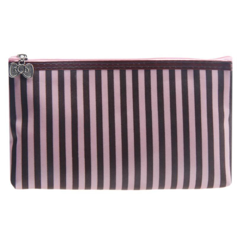 Hot-sale 1PC Stripe Portable Storage Makeup Bag Cosmetic Bag 4 Colors To Choose(China (Mainland))