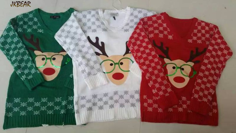 New-arriving Rudolph the Red Nose Reindeer Wearing Glasses Ugly Christmas Sweaters for Women S-XL 12