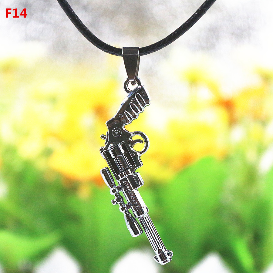 "Titanium steel Silver Double Side Pistol Pendants ""F14"" Statement necklace Fashion Jewelry Individual Tidal current 48*21mm(China (Mainland))"