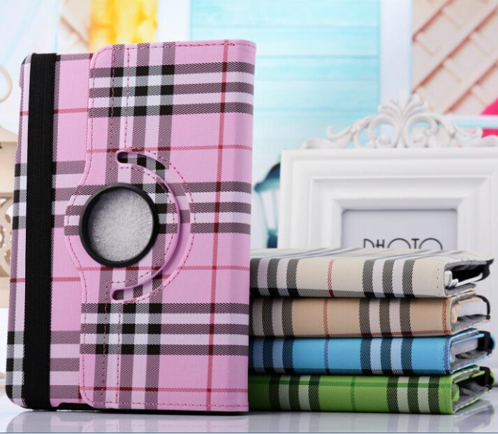 360 rotation font b tartan b font case for Ipad air PU leather smart cover protect