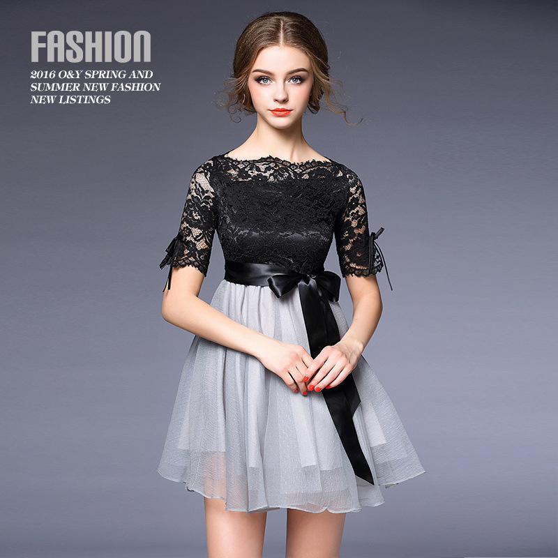 High Quality New 2016 Designer Runway Summer Dress Womens Sexy Ball Gown,Short Lace Embroidery  dressОдежда и ак�е��уары<br><br><br>Aliexpress