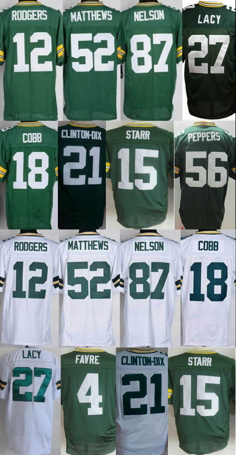 #12 Aaron Rodgers green bay Eddie Lacy Clay Matthews Jordy Nelson 100% stitched elite ,American Football Jersey(China (Mainland))
