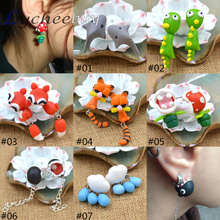 Hot Popular Polymer Clay Earring Studs Handmade Cute Cartoon Piranha Dinosaur Piranha Flower Valentine Gift(China (Mainland))
