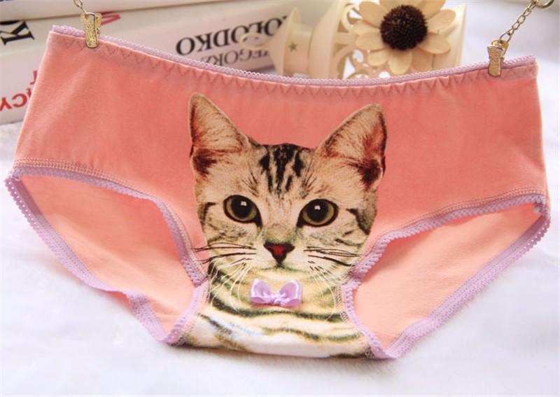 Cat  Underwear Women Panties Plus Size Cotton Cat Briefs 3D Printing Pussy Cat Panties Breathable Intimates Girls Meow Lingerie