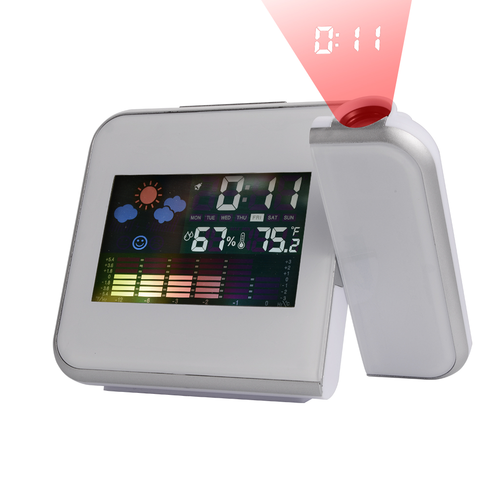 LCD Digital LED Projector Alarm Clock Weather Station Calendar Thermometer AH138(China (Mainland))
