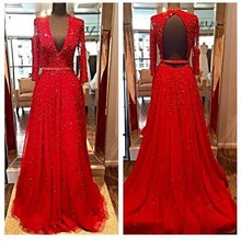 luxury low chest red evening dress 2016 elegant long sleeve women formal pagenat gown for prom party(China (Mainland))