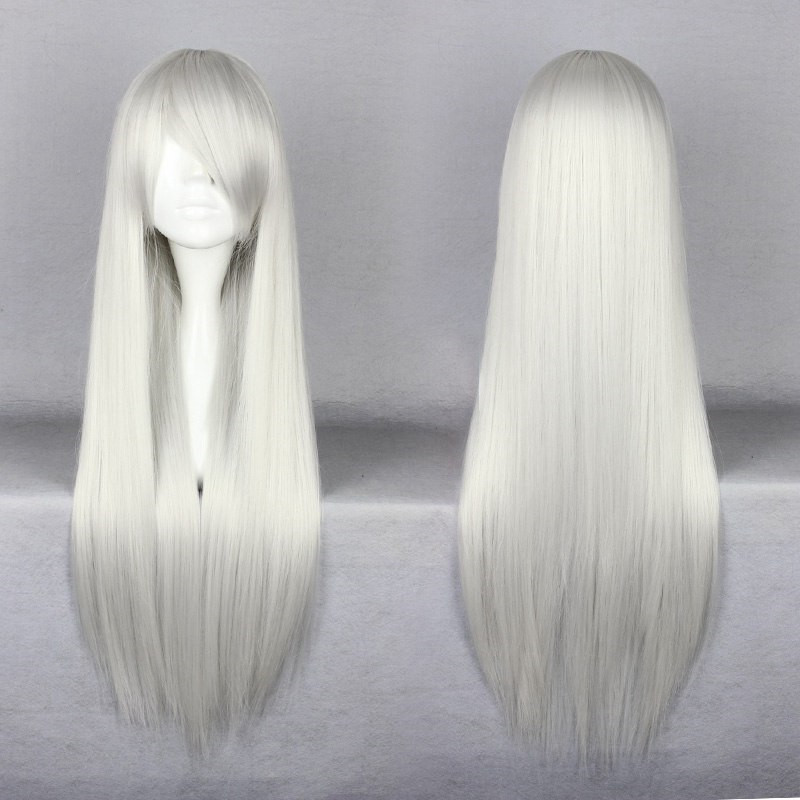 80CM Sexy Long Synthetic Silver Whie Straight  Hair Wigs Final Fantasy Sephiroth/Angel Sanctuary Honma Meiko Cosplay Anime Wigs<br><br>Aliexpress