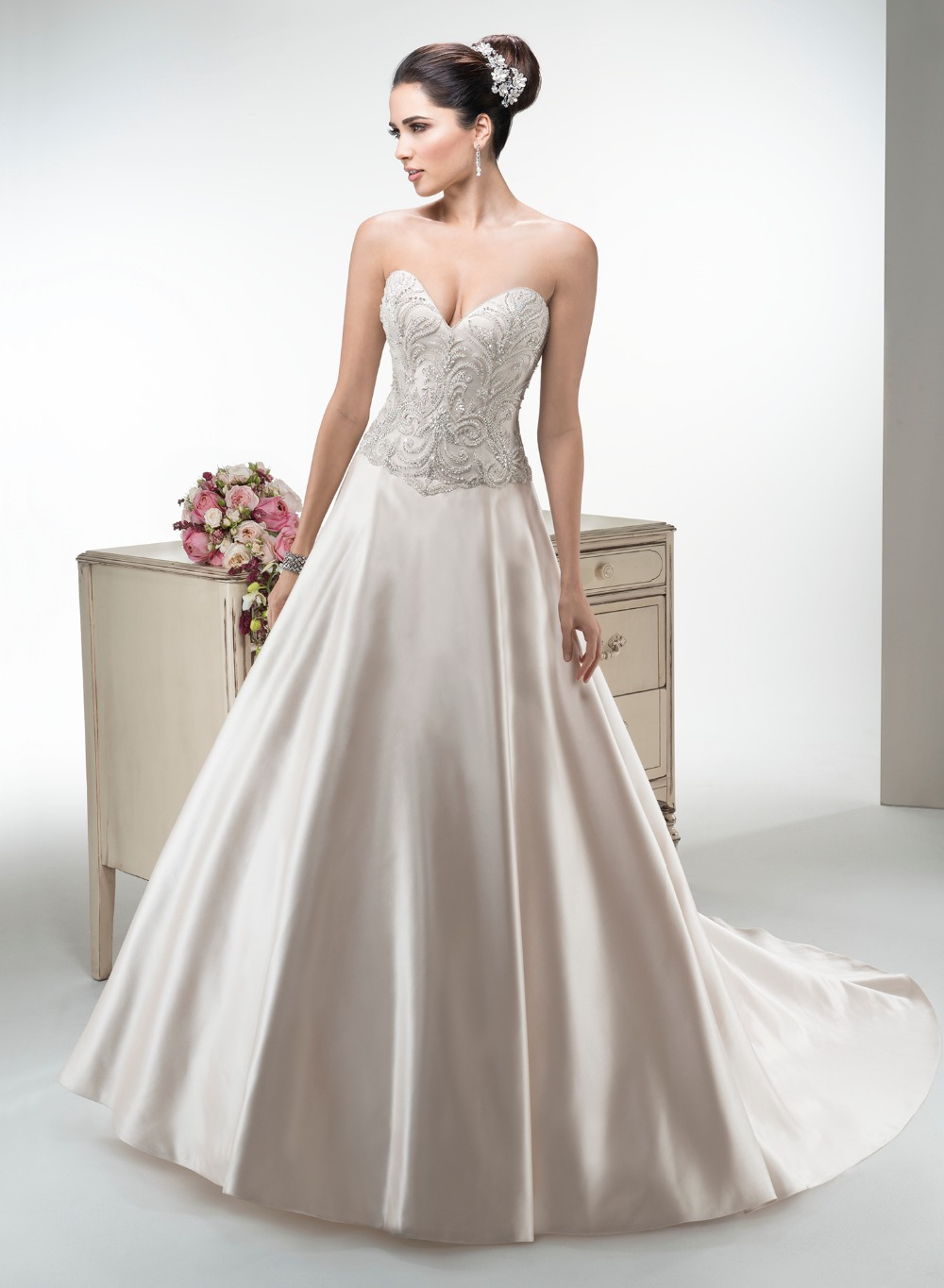 Sexy bling a line wedding dress satin 2015 custom elegant for Satin a line wedding dress