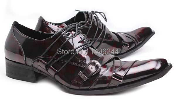 Фотография british euro men buckle Qshoes dress shoes pointed-toe real patent leather men
