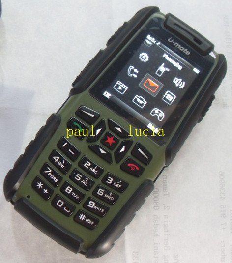 IP67 Waterproof Dustproof Shockproof Quality Outdoor Mobile U-mate A81 Military Cell Phone Quad Band Dual Sim Card Guophone A81(China (Mainland))