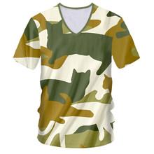 OGKB футболка глубокий v-образный вырез большой размер Досуг 3D футболки принт камуфляж кот хип хоп Большие размеры Habiliment мужские футболки(China)