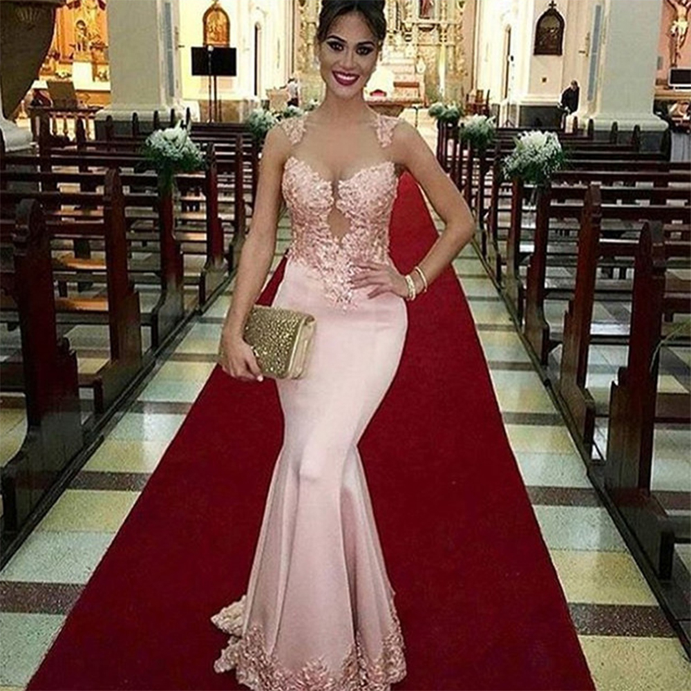Pretty-Pink-Lace-Mermaid-Evening-Dress-Sheer-Formal-Dresses-Long-Beaded-Satin-Evening-Party-Gowns-Luxury
