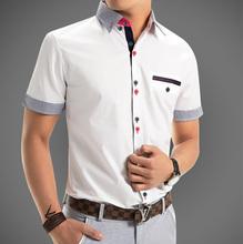 2015 New Mens Shirts Fashion Men's Dress Shirts Men Casual Slim Fit Stylish Short Sleeve Shirts Plus Size Free Shipping #50gs