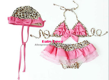 Free Shipping 3pcs Swimsuit Swimwear Pink Leopard Bowknot Tutu Skirt Clothes For Kids Toddler Infant Newborn Children Baby Girl