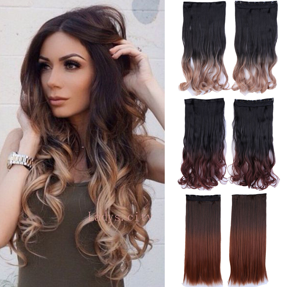 Free shipping 11 colors ombre clip in hair extensions for women Curly hairpiece synthetic hair 5 clips in Mega Hair(China (Mainland))