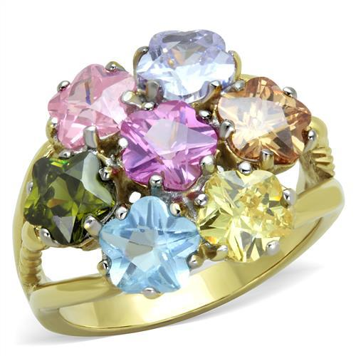 Fashion Jewelry Boutique Big Size Women Colors stone Party Rings Ionic Gold Plated Stainless Steel Lead Free Fashion Seven Stars(China (Mainland))