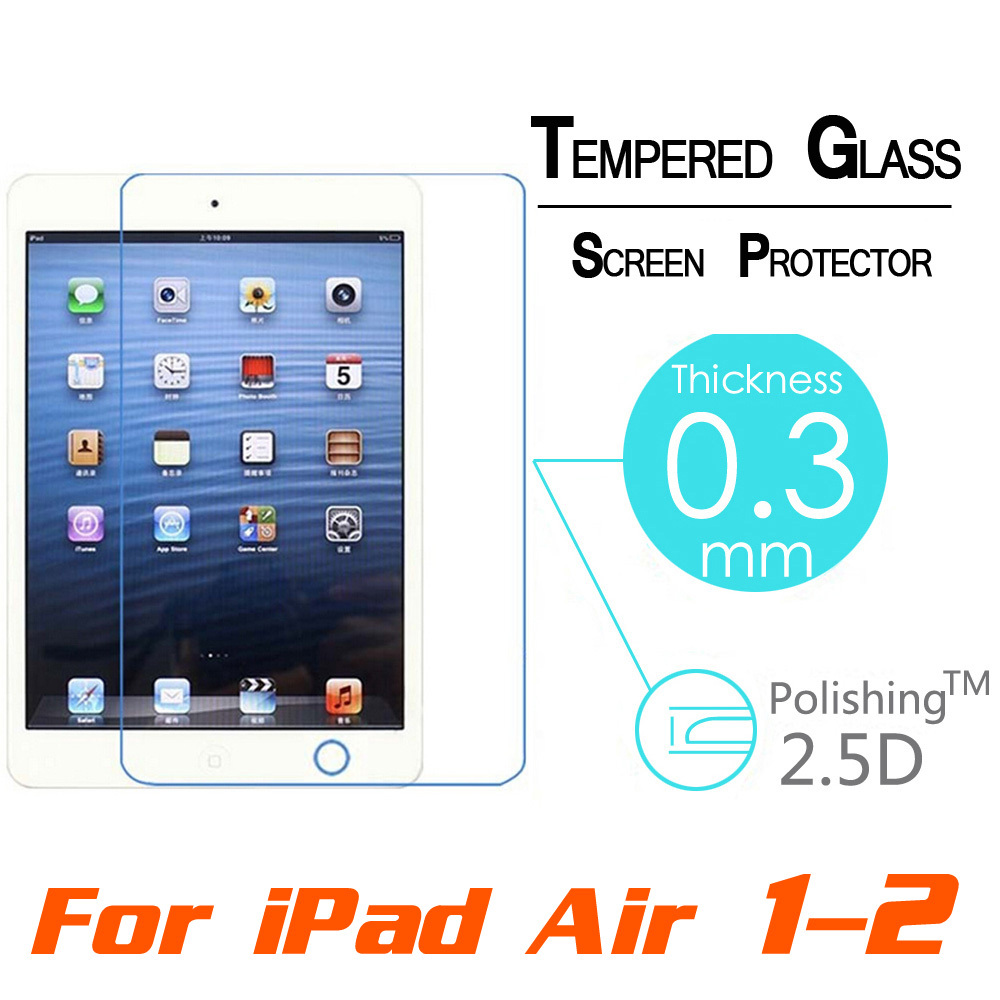 Hot Premium Tempered Reinforced Glass Screen Protector Film Case For iPad 2 3 4 /5 Air For iPad Mini 1 2 3 4 Clear Front Films(China (Mainland))