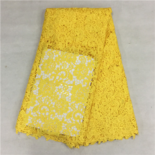 Yellow color african cord lace latest 2015 high quality french guipure lace fabric for nigerian lace fabrics 5yards (16)