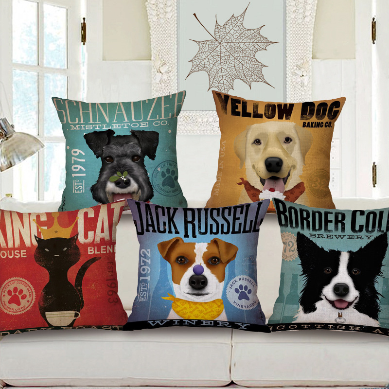 Free shipping throw pillow wedding decor linen fabric gift Hot sale 100% new 45cm Cool panda and dogs sofa cotton cushion cover