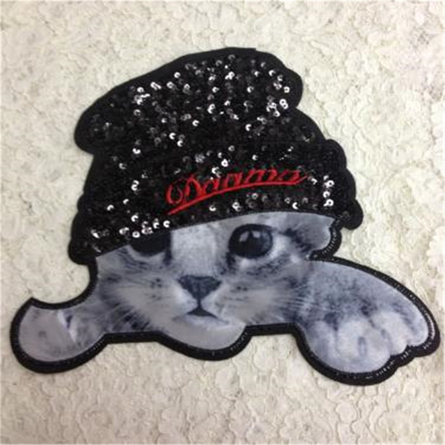 Clothes Accessories Sequins Embroidered Patches For Clothing T-shirt Sewing Biker Patches Black 3D Cat Logo Free Shipping(China (Mainland))