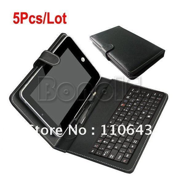 Holiday Sale! 5Pcs/Lot Leather Cover Case & USB Keyboard for 7'' Tablet PC MID Laptop Bag Free Shipping Drop Shipping 1504