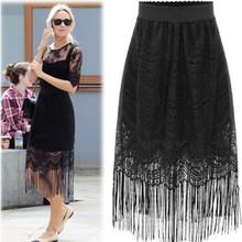 New Fashion Summer Sexy Skirt Women Hollow-Out Floral Lace Slim Pencil Skirt Tassels Hem High Waist OL Office Work Skirts B1041S