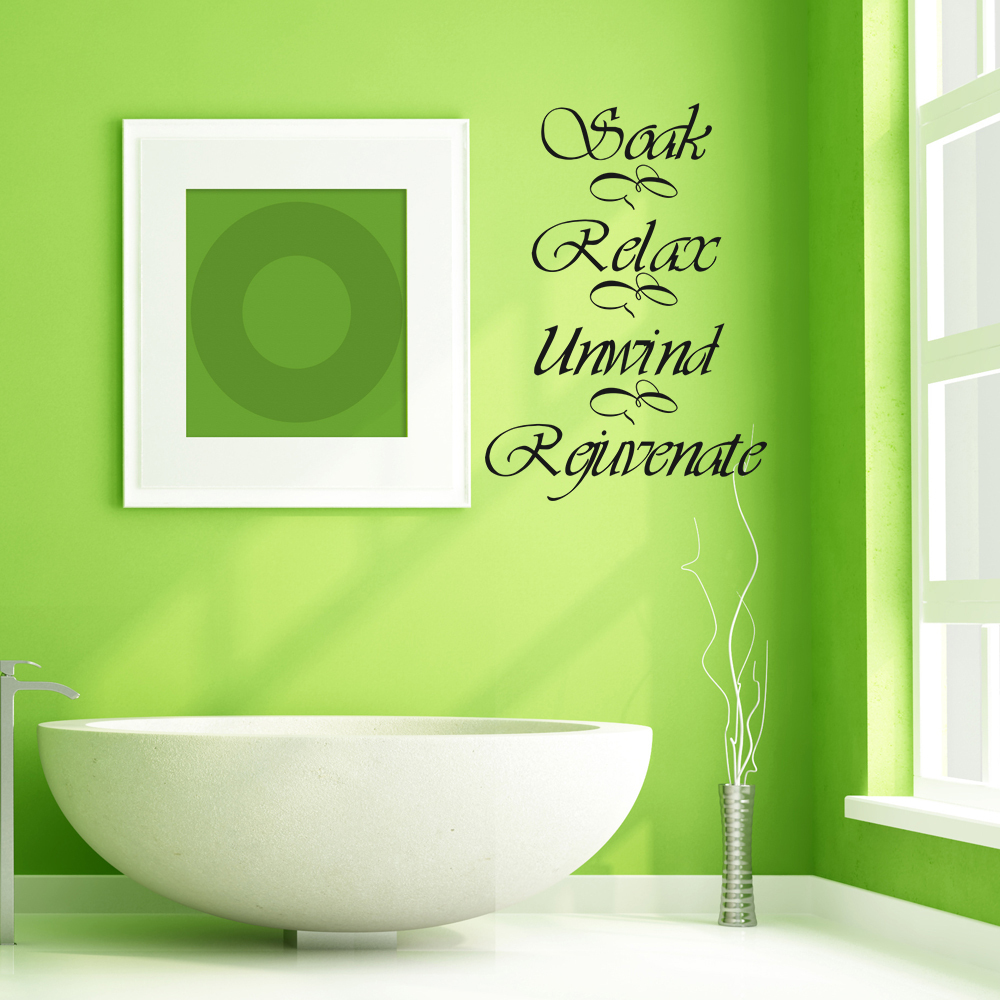 Bathroom wall decal quote soak relax unwind rejuvenate for Spa bathroom wall decor