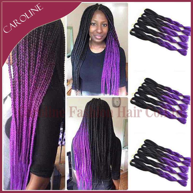 "24"" Braiding Kinky Twist Hair Two Tone Xpression Jumbo Braid Hair Synthetic Braiding Hair Highlights For Black Women 324(China (Mainland))"