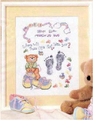 needlework embroidery, cross stitch kits 14ct counted pattern cotton thread cartoon footprint bear baby record birth certificate(China (Mainland))