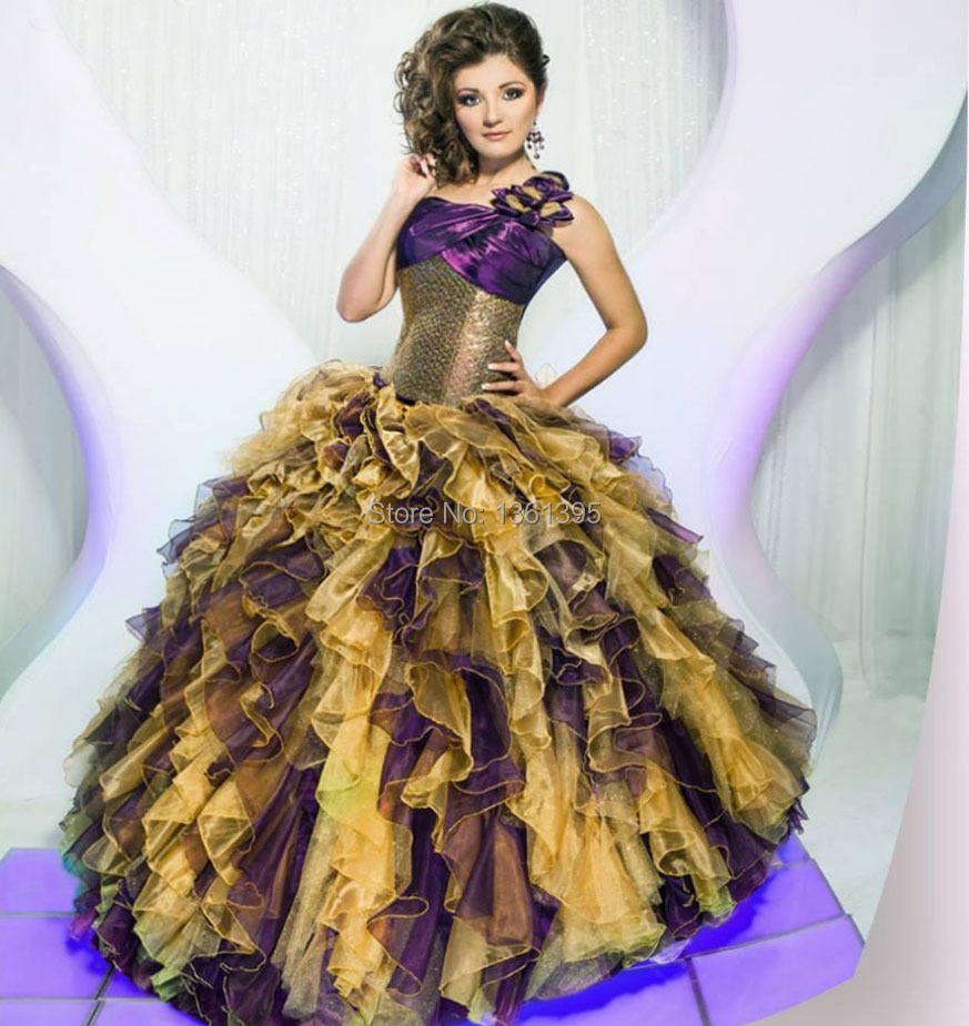 dress slim Picture - More Detailed Picture about One shoulder gold ...