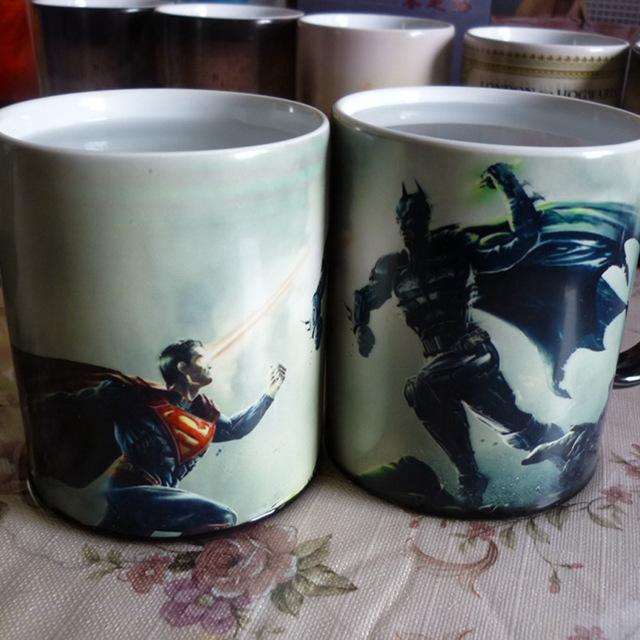 Free Shipping! Batman vs Superman Mug Cute color changing mug or 350ml Cute Baymax Painted Cup mugs for tea coffee and milk(China (Mainland))