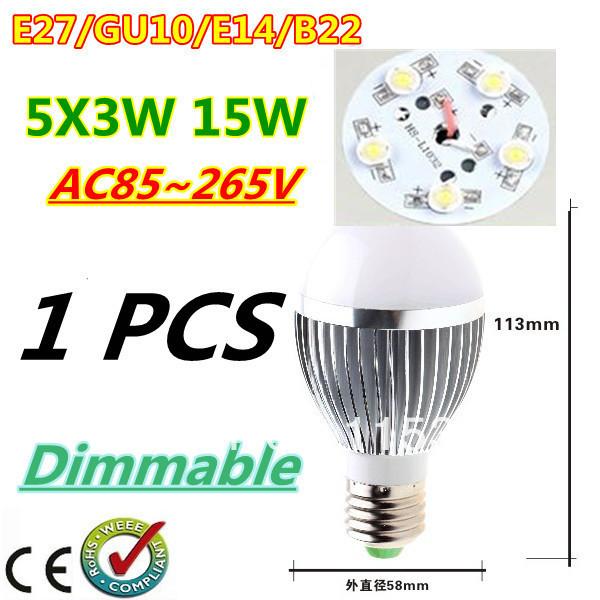 1pcs/lot Retail Dimmable Bubble Ball Bulb AC85-265V 9W/12W/15W E14 E27 B22 GU10 High power Globe light LED Light Free shipping