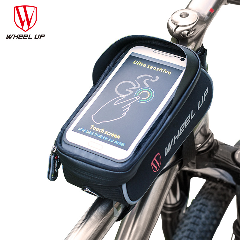 WHEEL UP Cycling Bike Rainproof Cellphone Tube Bag Bicycle Pannier Front Frame Case Holder Bag 6 inch Bicycle Touch Screen Bags(China (Mainland))