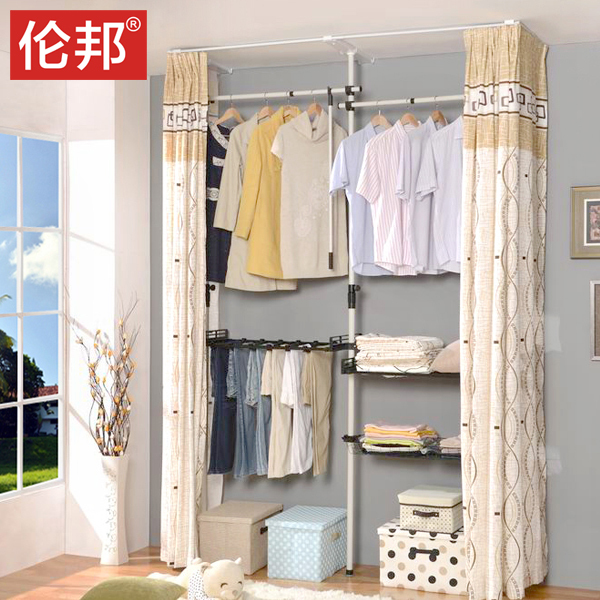 Special offer free shipping Korean Lembang simple integrated assembly of whole cloth steel wardrobe Single wardrobe hangers chil(China (Mainland))