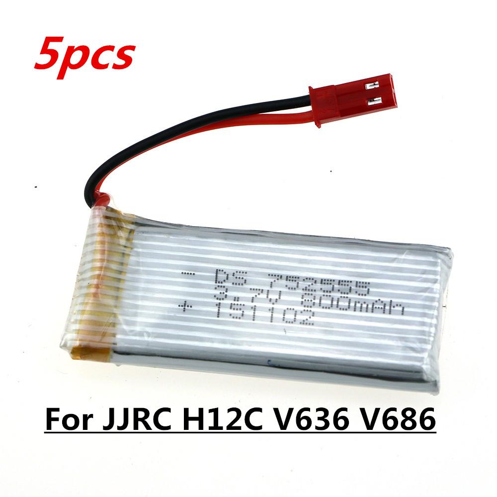 5pcs 3 7V 800mah battery For JJRC H12C H12 V636 V686 V686G V686J V686K JXD 509G