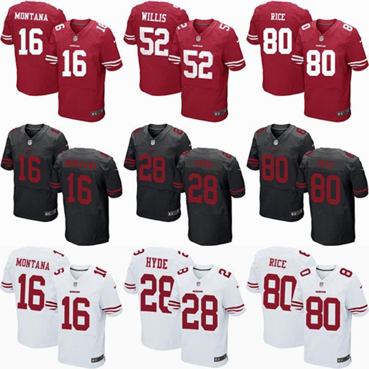 2016 elite Men San Francisco 49ers 16 JOE Montana #80 Jerry RICE,28 Carlos Hyde,Eric Reid 52 Patrick Willis, black red white(China (Mainland))