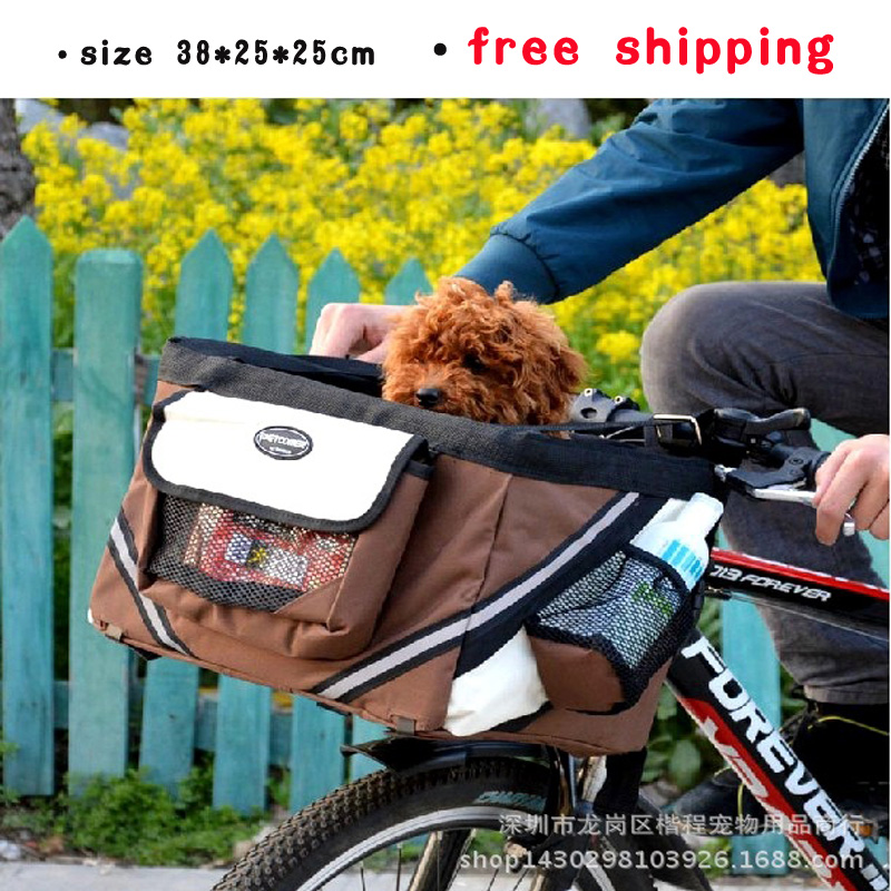 Free Shipping Portable Bicycle Baskets For Dogs Cat Pet Carrier Travel Tote Dog Bike Bag Oxford Cloth High Quality(China (Mainland))