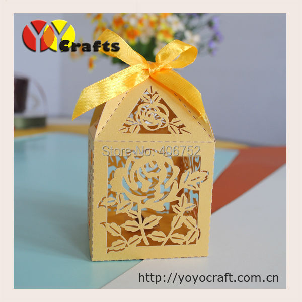 new design cheap gold color laser cut wedding favor box with free logo for sweets(China (Mainland))