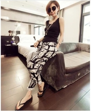 S-XXXL Summer Women Loose Pants Fashion Elastic Printed Harem Pants Female Plus Size Long Trousers(China (Mainland))