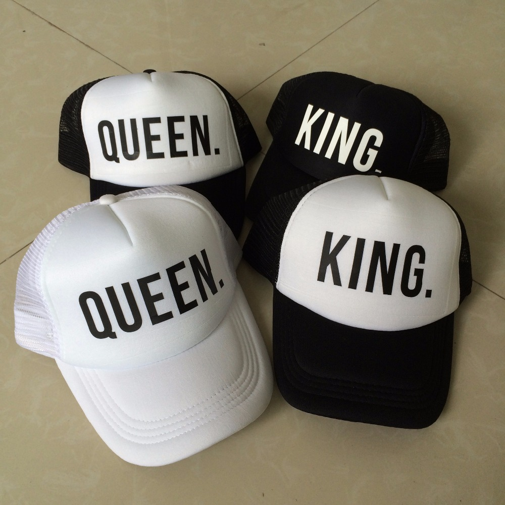 KING QUEEN Print Trucker Caps Men Women Polyester Mesh Summer Flat Visor Snapback Hat White Black Couple Gifts Free Shipping(China (Mainland))