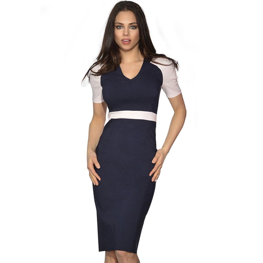 Fantastic Fashion Office Dress Summer V Neck Elegant Women Short