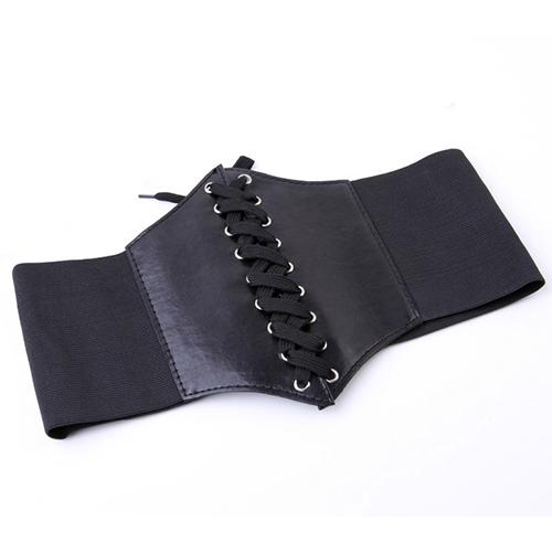 Hot 2015 New Women's Slim Elastic Buckle Wide  Waistband Waist Adjustable Corset Leather Lace up Elastic Belt Retro Style B091(China (Mainland))