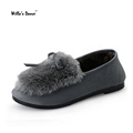 Willa s Dance Cat Ear Loafers Shoes Woman 2016 Winter Short Plush Casual Flat Shoes High