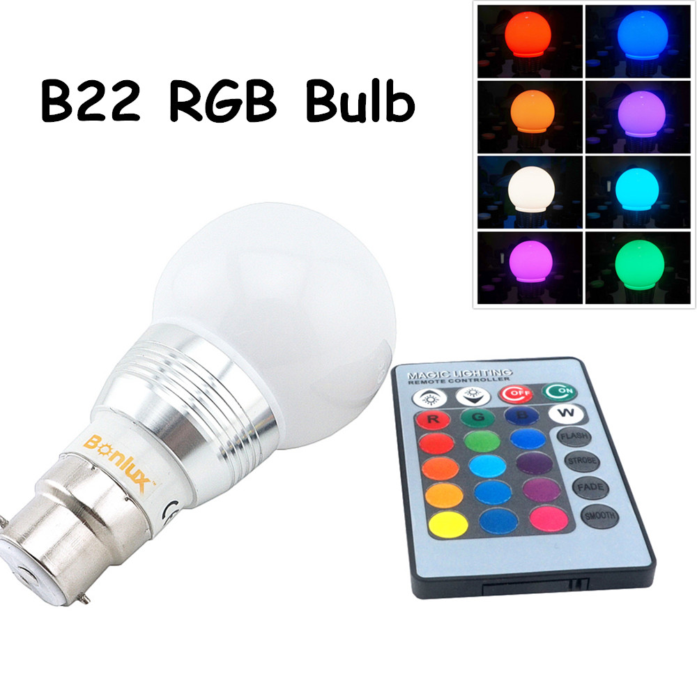 LED B22 RGB Light Bulb 3W 110V 220V A60 Bayonet Spotlight Bulb RGB LED Ball Light with RGB remote controller for Home Decoration(China (Mainland))