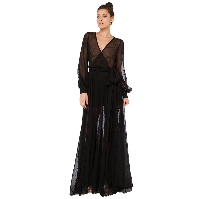 Hot Sale Sexy Club Dress 2015 Polka Dot Black Lace Long Maxi Dress Plus Size Women Sexy Deep V-neck Perspective Vestido de festaОдежда и ак�е��уары<br><br><br>Aliexpress